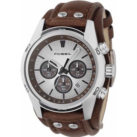 フォッシル 腕時計 メンズ トレンド CH2565 シルバー×ブラウンレザーベルト