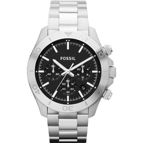 フォッシル 腕時計 メンズ レトロトラベラー CH2848   ブラック×シルバー