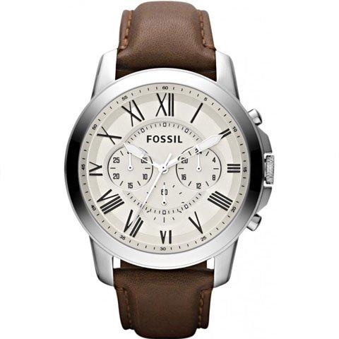 フォッシル 腕時計 メンズ グラント FS4735  ベージュ×ブラウンレザー