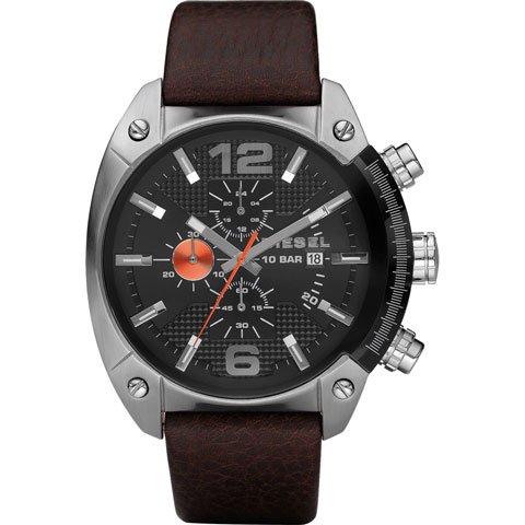 ディーゼル 腕時計 オーバーフロー DZ4204  ブラック×ブラウンレザーベルト