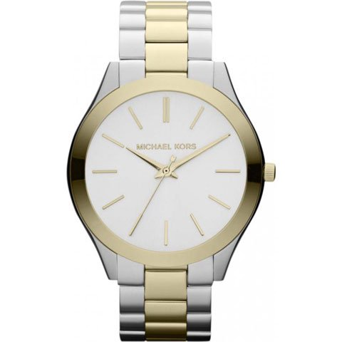 マイケルコース 時計 スリムランウェイ MK3198 ホワイト×ツートンステンレスベルト