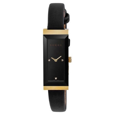 グッチ 腕時計 レディース G-フレーム YA127506 ブラック×ブラックレザー