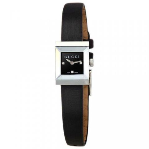 グッチ 腕時計 レディース G-フレーム YA128503 ブラック×ブラックレザー