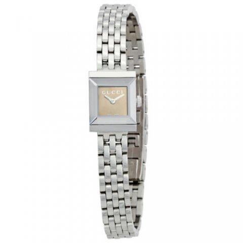 グッチ 腕時計 レディース G-フレーム YA128501 ブラウン×シルバー