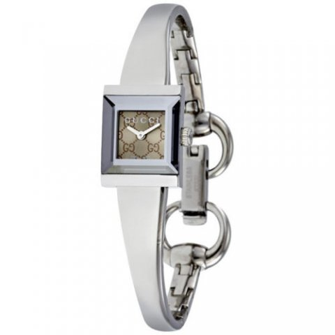 グッチ 腕時計 レディース G-フレーム YA128510 ブラウン×シルバー