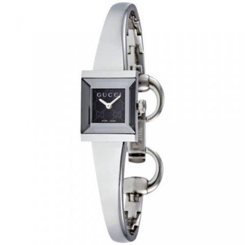 グッチ 腕時計 レディース G-フレーム YA128512 ブラック×シルバー