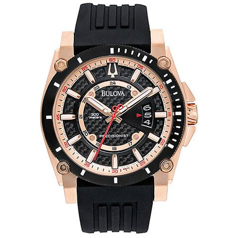 ブローバ 腕時計 プレシジョニスト 98B152 ブラック×ローズゴールド×ブラックラバーベルト