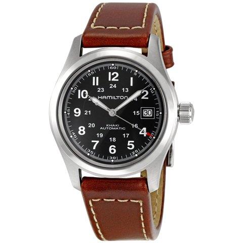 ハミルトン 腕時計 カーキフィールド オート H70555533 ブラック×ブラウンレザー