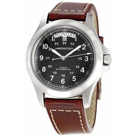ハミルトン 腕時計 カーキキング オート H64455533 ブラック×ブラウンレザー