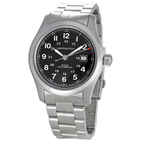 ハミルトン 腕時計 カーキフィールド オート H70515137 ブラック×シルバー