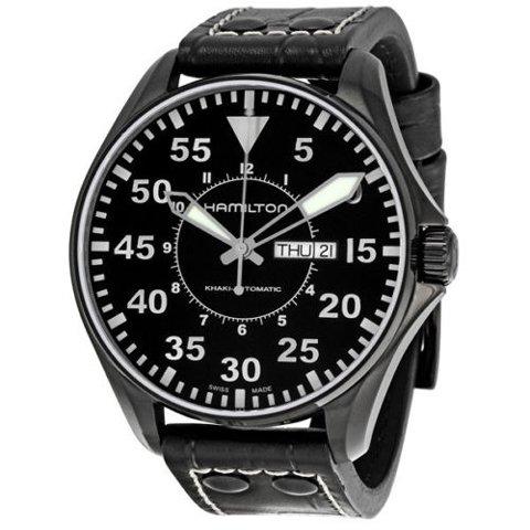 ハミルトン 腕時計 カーキアビエーション パイロット オート H64785835 ブラック×ブラックレザー