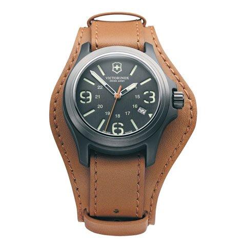 ビクトリノックス 腕時計 オリジナル 241593 グレー×ブラウンレザーストラップ