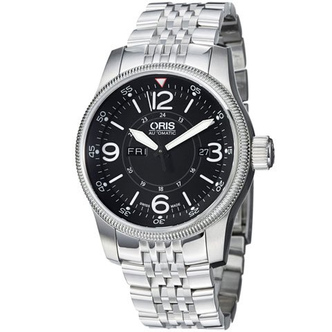 オリス 腕時計 ビッグクラウン タイマー 735-7660-4064MB ブラック×シルバー