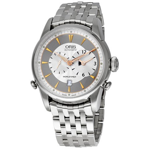 オリス 腕時計 アートリエ ワールドタイマー  690-7581-4051MB シルバー×シルバー