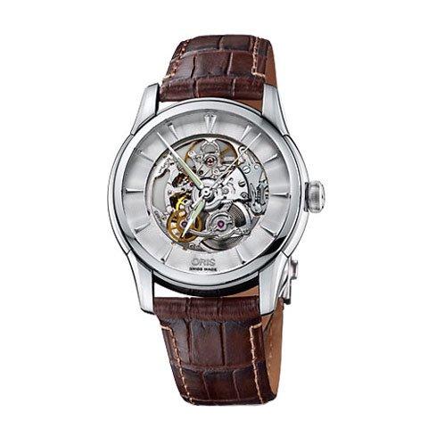 オリス 腕時計 アートリエ スケルトン 734-7670-4051M シルバー×ブラウン