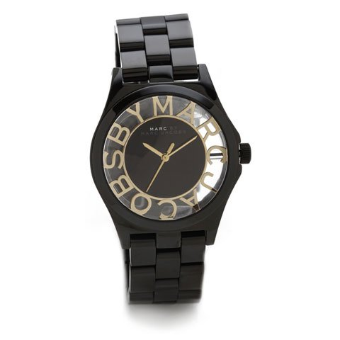 マークバイマークジェイコブス 腕時計 レディース ヘンリースケルトン MBM3255 ブラック×ゴールド