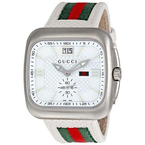 グッチ 腕時計 メンズ クーペ YA131303 ホワイト×レッド×グリーンレザーベルト