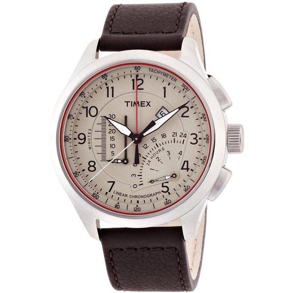 タイメックス 腕時計 リニア インテリジェントクオーツ T2P275 クリーム×ブラウンレザーベルト