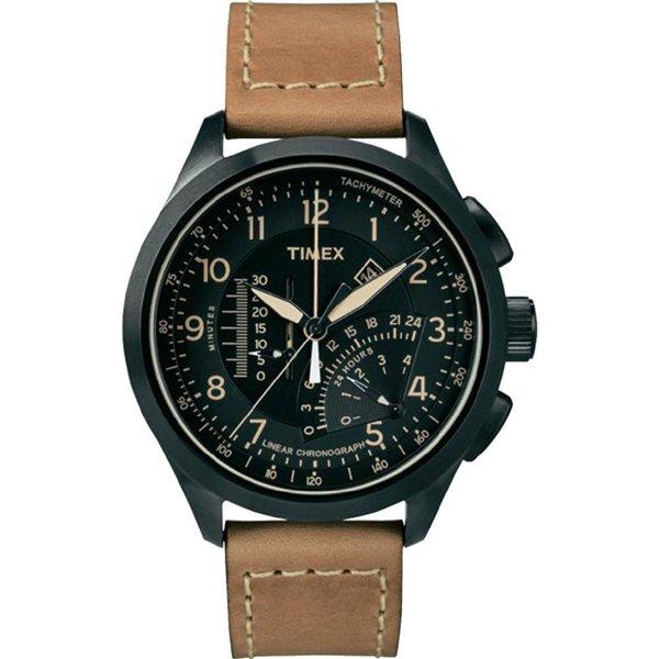 タイメックス 腕時計 リニア T2P277 ブラック×ブラウンレザーベルト