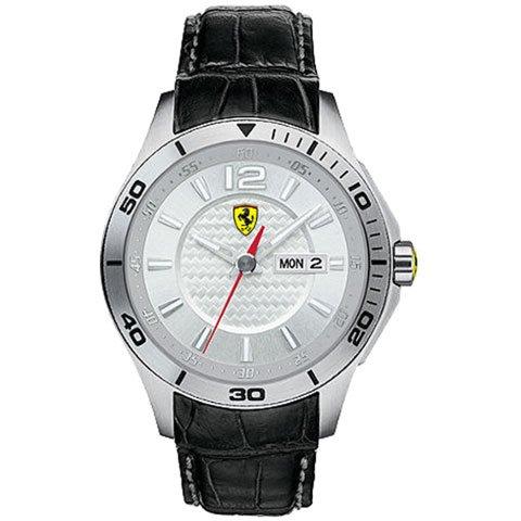 スクーデリア・フェラーリ 腕時計 0830092 シルバー×ブラックレザーベルト