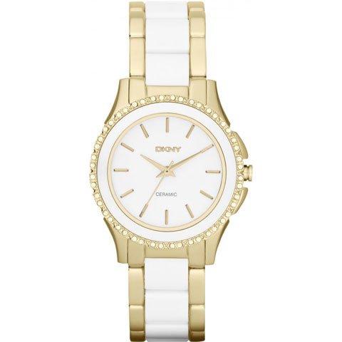 DKNY 腕時計 レディース NY8829 ブルックリン ホワイトセラミック×ゴールド