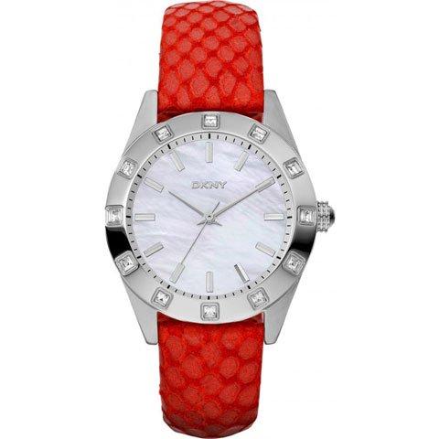 DKNY 腕時計 レディース ノリータ NY8786 マザーオブパール×レッドレザーベルト