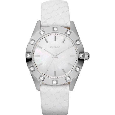 DKNY 腕時計 レディース ノリータ NY8790 マザーオブパール×ホワイトレザーベルト