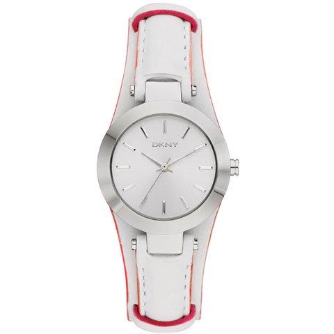 DKNY 腕時計 NY8749 サーシャ シルバー×ホワイトレザーベルト