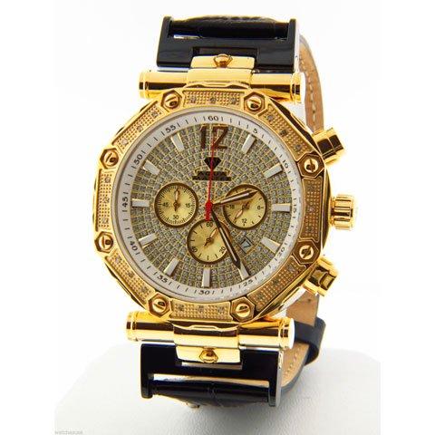 アクアマスター 腕時計 W147 ダイヤモンドウォッチ ゴールド×ゴールドベゼル×ブラック