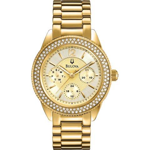 ブローバ 腕時計 レディース クリスタルコレクション 97N101 パールゴールド×ゴールド×クリスタル