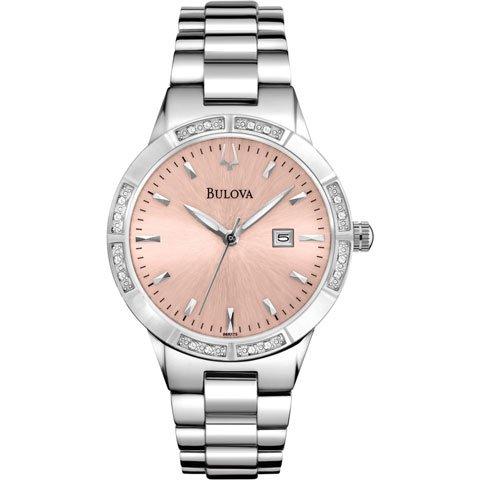 ブローバ 腕時計 レディース ダイヤモンドコレクション 96R175 ピンク×シルバー
