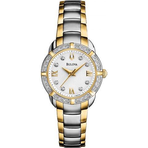 ブローバ 腕時計 レディースダイヤモンド 98R170 ホワイト×ゴールド×ステンレススチールベルト