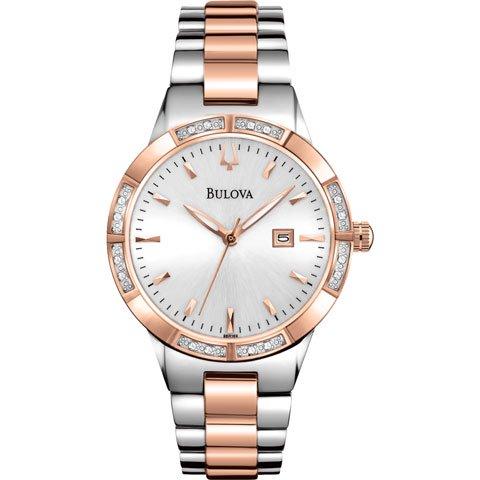 ブローバ 腕時計 レディースダイヤモンド 98R169 シルバー×ローズゴールド×ステンレススチールベルト
