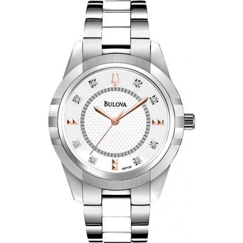 ブローバ レディース腕時計 レディースダイヤモンド 98P135 ホワイト×シルバー