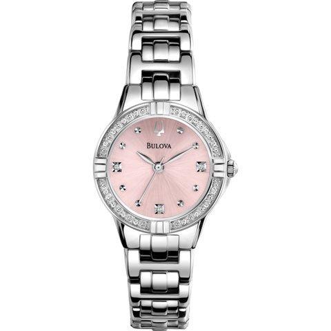 ブローバ 腕時計 レディースダイヤモンド 96R171 ピンク×シルバー