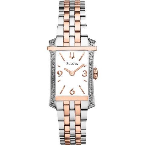 ブローバ 腕時計 レディース ダイヤモンドギャラリー 98R186 ホワイト×ローズゴールド