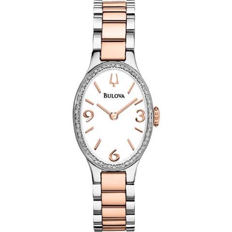 ブローバ 腕時計 レディース ダイヤモンドギャラリー 98R190 ホワイト×ローズゴールド
