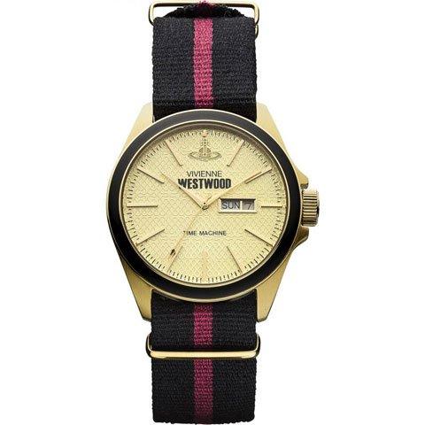 ヴィヴィアン・ウエストウッド 腕時計 カムデン・ロック VV068GDBK ゴールド×ブラック×ピンクナイロンベ…