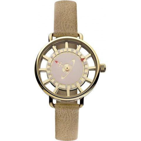 ヴィヴィアン・ウエストウッド 腕時計 テイト VV055PKTN プリムローズ×ゴールドケース×ベージュレザーベ…