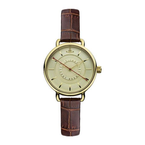 ヴィヴィアン・ウエストウッド 腕時計 ゲインズボロー VV076GDBR ゴールド×ブラウンレザーベルト