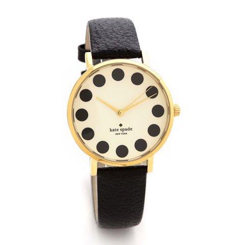 ケイトスペード 腕時計 1YRU0107 メトロ ブラックドット×ブラックレザーベルト