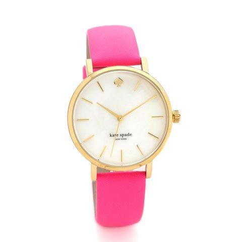 ケイトスペード 腕時計 1YRU0180 メトロ マザーオブパール×ネオンピンクレザーベルト