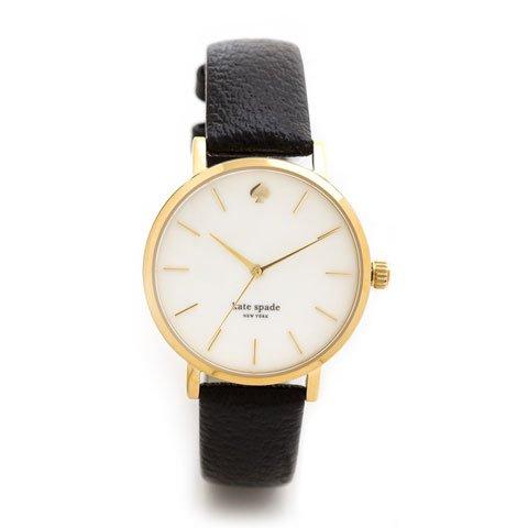 ケイトスペード 腕時計 1YRU0010 メトロ イエローゴールド×ブラックレザーベルト