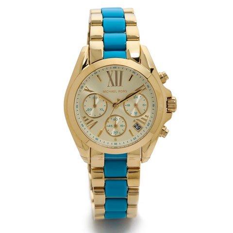 マイケルコース 時計 ブラッドショー MK5908 ターコイズブルー×ゴールド