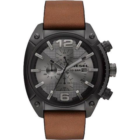 ディーゼル 腕時計 オーバーフロー DZ4317 ガンメタル×ブラウンレザーベルト