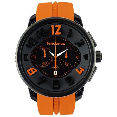 テンデンス 腕時計 ガリバーラウンド クロノグラフ 02046023 ブラック×オレンジ
