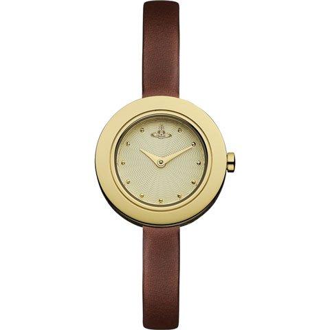 ヴィヴィアン・ウエストウッド 腕時計 エッジ VV097GDBR ゴールド×ブラウンレザーベルト