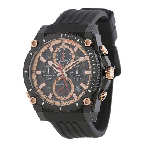 ブローバ 腕時計 プレシジョニスト 98B181 ブラック×ローズゴールド×ブラックラバーベルト