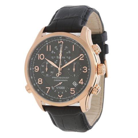 ブローバ 腕時計 プレシジョニスト 97B122 ブラック×ローズゴールド×ブラックレザーベルト