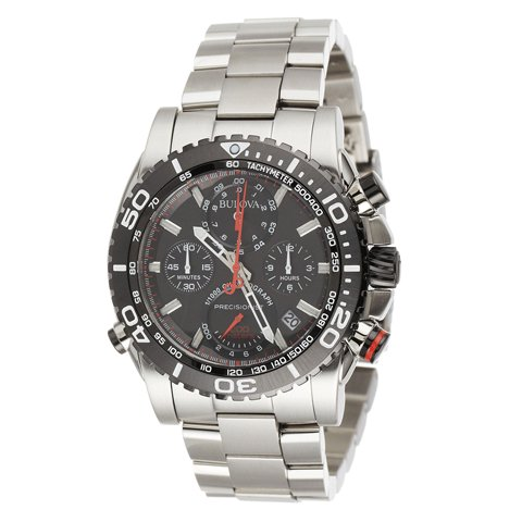 ブローバ 腕時計 プレシジョニスト 98B212 ブラック×ポリシュッドステンレススチールベルト